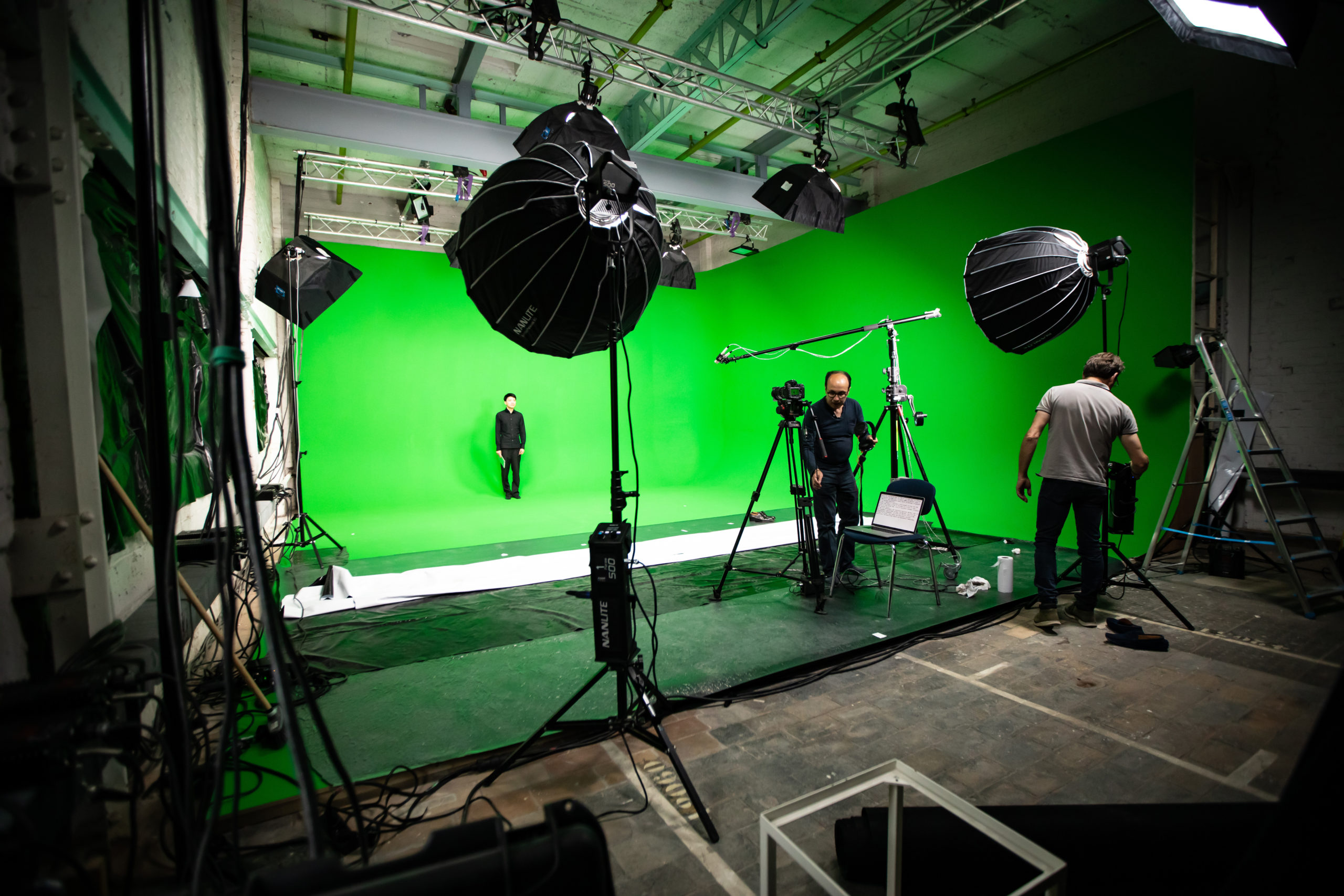 Studio TV avec fonds verts