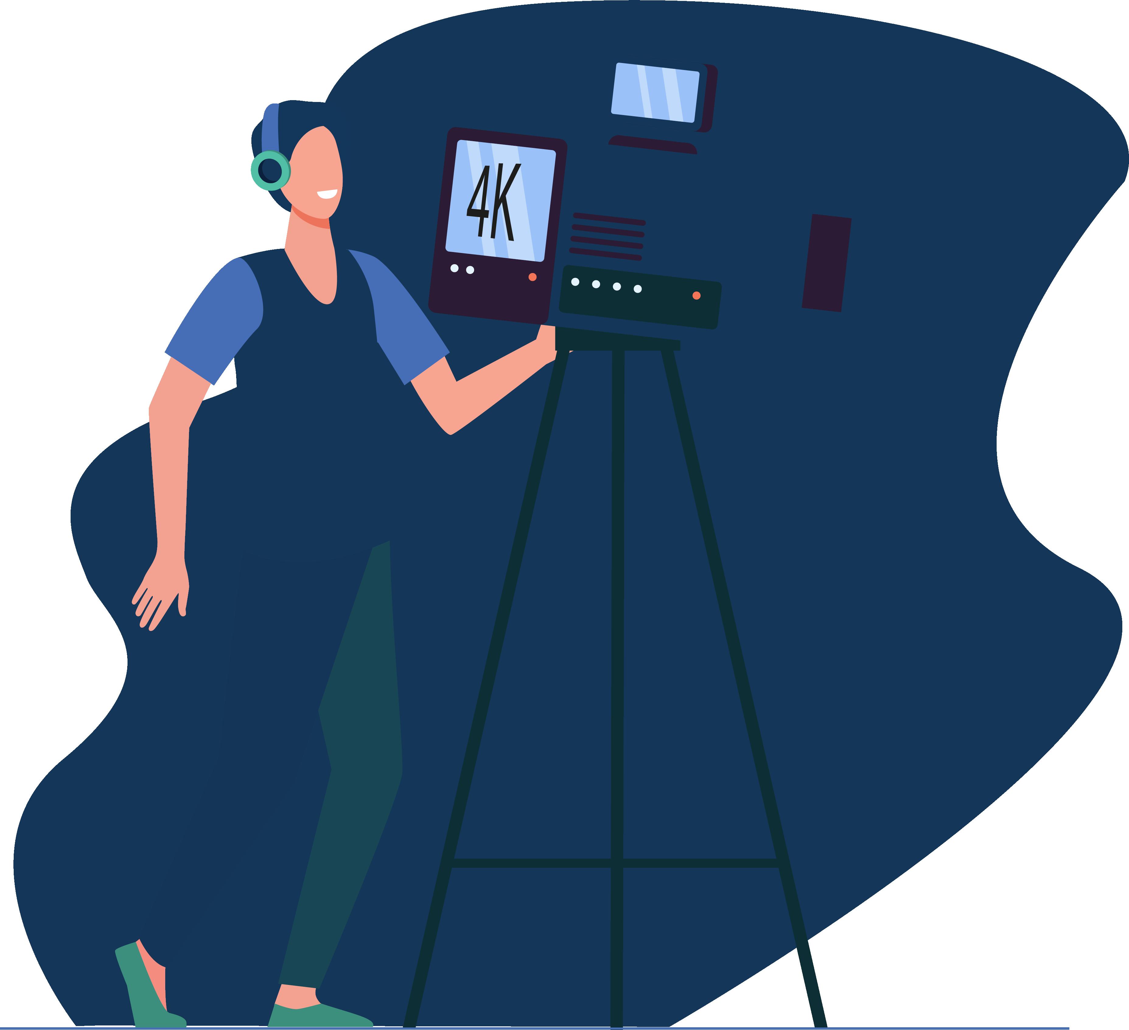 Illustration d'une personne avec un casque et une caméra de tournage